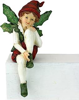 Design Toscano Santa's Christmas Elves Leaf Wings Shelf Sitter Statue, Multi-Colour, 12.5x12.5x21.5 cm