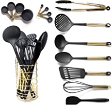 Black and Gold Cooking Utensils with Stainless Steel Gold Utensil Holder - 16-Piece Set Includes Black and Gold Measuring Spoons, Black and Gold Measuring Cups