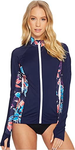 IslandActive Graphic Tropics Zip-Front Rash Guard Cover-Up