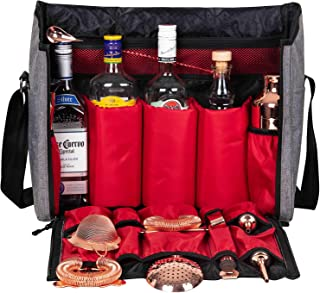 Bartender Travel Bar Bag-16 Inch Bar Wine Carrier Set Bag for Traveling Camping-Grey (Bag Only)