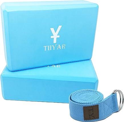 Tiiyar Yoga Block Strap Set - Set of 2 Yoga Block(Yoga Brick) 3 inch / 4 inch, and Yoga Strap/Yoga Belt Kit