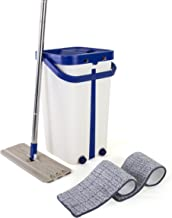 Kitchen + Home Mop and Bucket - Self Cleaning Flat Mop with Bucket Wringer and 2 Reusable Microfiber Mop Pads for Wet and Dry Mopping on All Surfaces