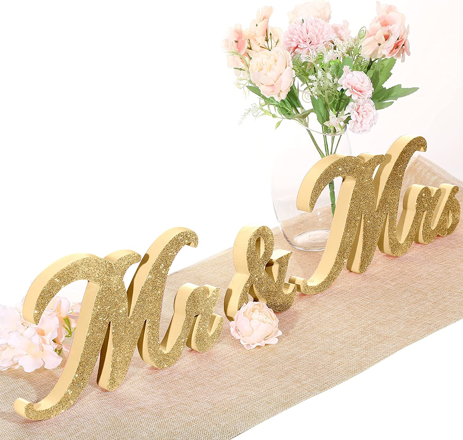 Mr and Mrs Sign Vintage Style Mr and Mrs Sign Wooden Mr and Mrs Letter Glitter Mr and Mrs Letters Wedding Sweetheart Table Decorations for Wedding Party Photo Prop Table Decoration (Gold)
