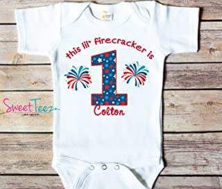 My First Birthday Shirt, 4th Of July Birthday Shirt, My 1st Birthday Shirt, Little Firecracker Birthday Personalized Shirt
