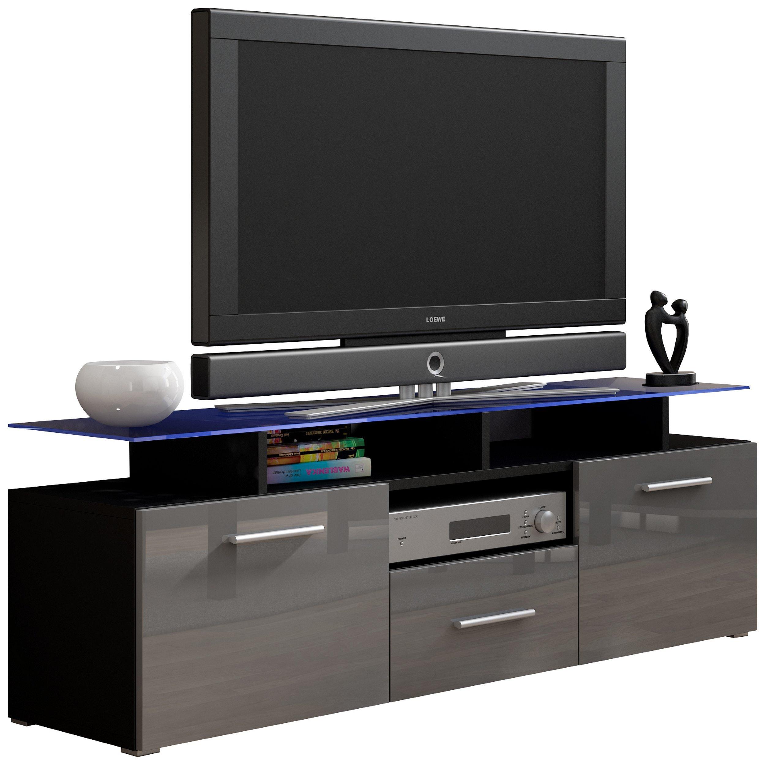 JUSTyou Evoro Mini Mueble para TV Mesa televisión salón 147 cm Color: Negro Gris: Amazon.es: Hogar