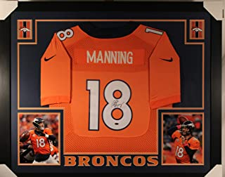 c3b47f6d4 Peyton Manning Denver Broncos Autograph Signed Custom Framed Nike Jersey  Dual Logo Steiner Sports Certified
