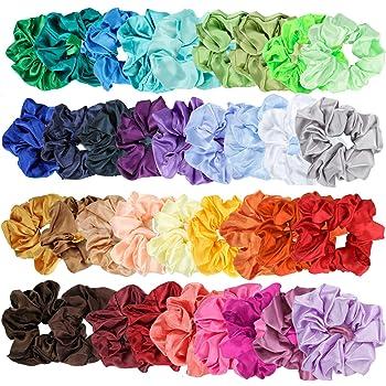 E-More 36 Piezas de Scrunchies de Pelo de satín Lazos Elásticos Banda de Pelo Coletero Elástico para Mujeres y Chicas, 36 Colores: Amazon.es: Belleza