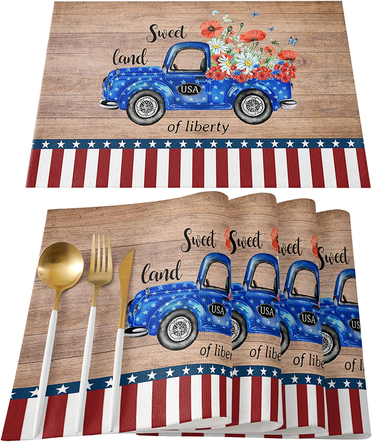 LBCASA Placemats Set of 6 USA Place Tucson 35% OFF Mall Truck Flower Butterfly with