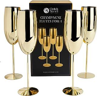 Oak & Steel 4 Flûtes à Champagne Élégantes en Acier Inoxydable Doré - 285ml