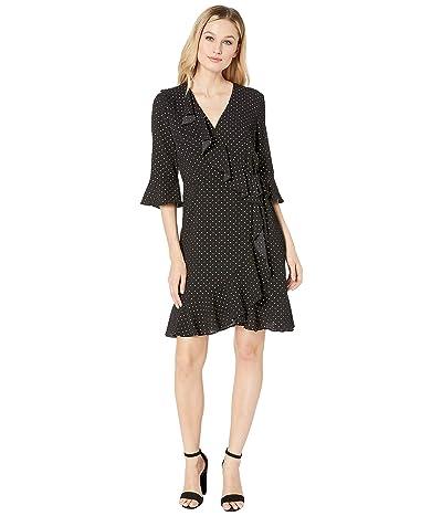 Adrianna Papell Polka Dot Ruffle Wrap Dress (Black Multi) Women