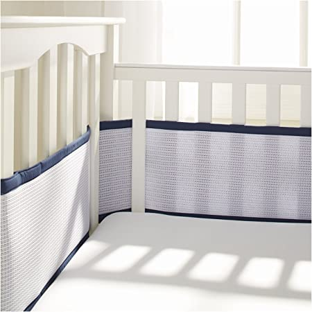 Bacati Crib Safety Guard Pad with Safety Padding MOD Sports, Blue//Orange//Chocolate 4-Piece Crib Bumper Pad Cotton Breathable Crib Liner Protector Machine Washable Nursery Bed Essential for Boys