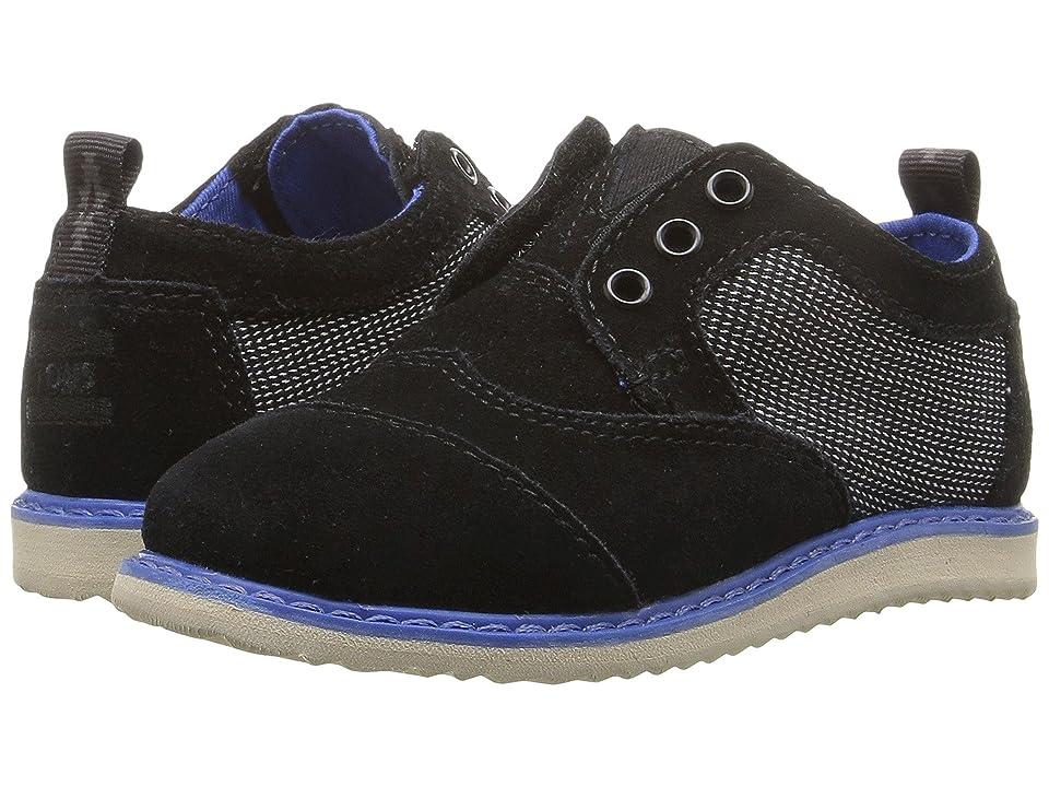 TOMS Kids Brogue Dress (Infant/Toddler/Little Kid) (Black Suede/Textile) Boys Shoes