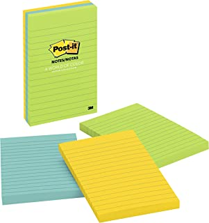 Post-it Notes, America's #1 Favorite Sticky Note, 4 in x 6 in, Jaipur Collection, Lined, 3 Pads/Pack, 100 Sheets/Pad (660-3AU)