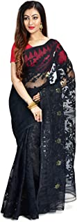 SareesofBengal Women's Cotton Silk Handloom Dhakai Jamdani Saree (Black, Free Size)