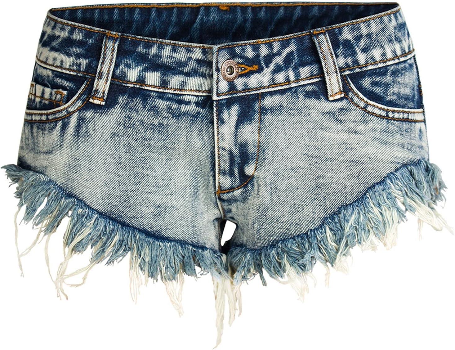 SBCDY Women's Destroyed Ripped Hole Denim Shorts Sexy Short Jeans Summer High Waist Denim Shorts Hole Tear Tassel Denim Shorts (Color : Blue, Size : 44)