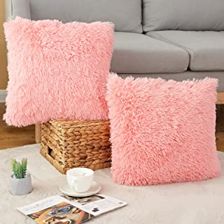 Faux Fur Fluffy Throw Pillow Covers, 18x18 Luxury Decorative Pillow Case Cushion Cover for Couch,Bed, Living Room, Set of ...