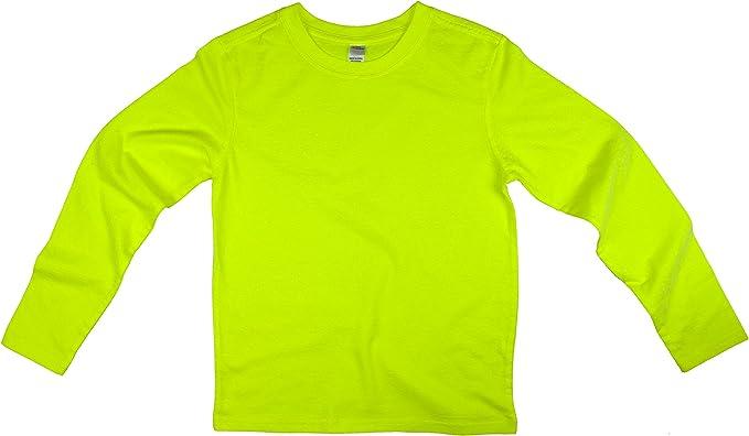 Girls Kids Basic Long Sleeve Top kids Plain Neon School Tee Tops T-Shirt 2-13