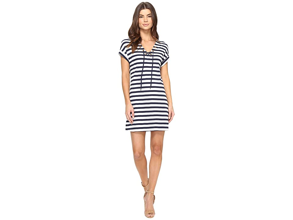 Three Dots Stripe Tie Front Dress (Coastal Stripe) Women