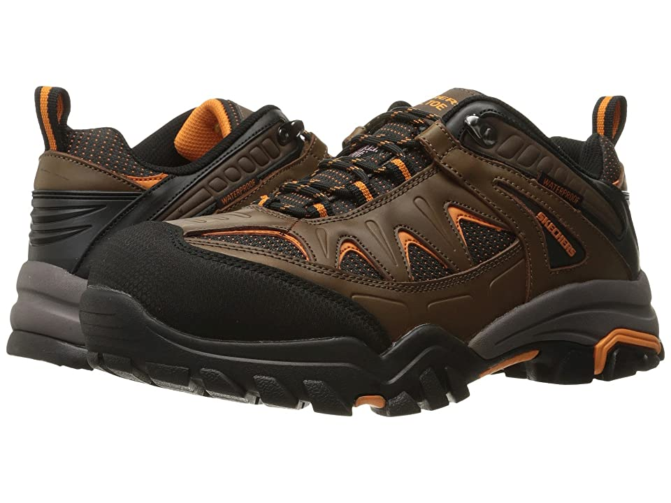 SKECHERS Work Delleker (Brown Crazy Horse Leather/Oxford Nylon) Men