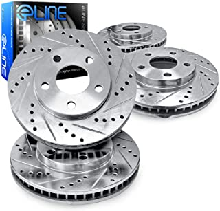 For 2004-2010 BMW 525i, 530i, 528i R1 Concepts Front Rear Silver Zinc Cross Drilled Slotted Brake Rotors