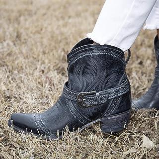 Dames brede kuit western cowgirl laarzen riem gesp geborduurde korte laarzen dikke halfhoge retro Martin laarzen maat 35-43