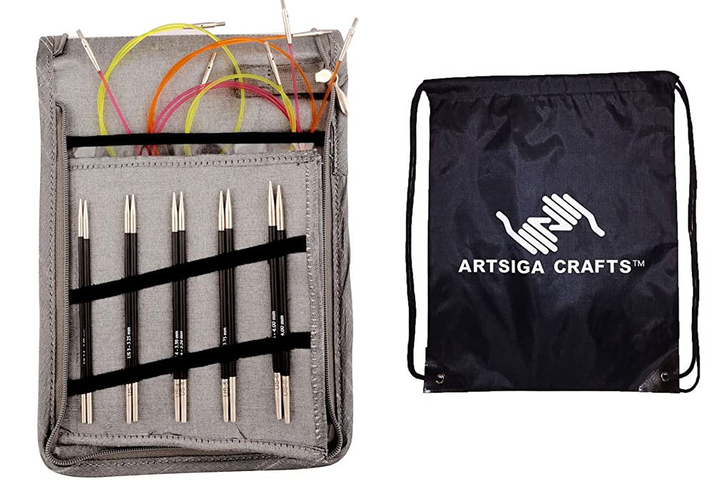 Knitter's Pride Karbonz Deluxe Interchangeable Long Tip Knitting Needle Set Bundle with 1 Artsiga Crafts Project Bag 110603
