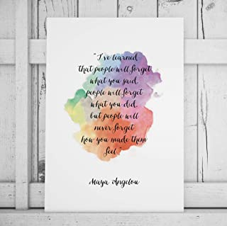 Maya Angelou Quote Print I've Learned That People Will Forget Motivational Poster Inspirational Print Watercolor Paint Han...