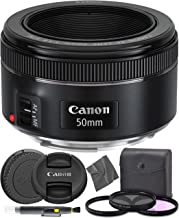 Canon EF 50mm f1.8 STM: (0570C002) Nifty Fifty EF 50 mm f/1.8 Stepper Motor Full Frame Prime Lens + AOM Pro Starter Kit - International Version (1 Year AOM Warranty)