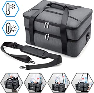 Anyoneer Double Decker Casserole Carrier-Insulated Food Delivery Travel Bag-Hot and Cold Shoulder Tote Bag with Zippers and Metal Hooks-Extra Large for Picnic, Potluck, Camping, Beach,Hiking,Gray