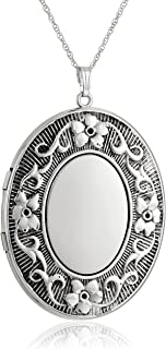 Extra-Large Embossed with Antique Finish Oval Locket Necklace, 30