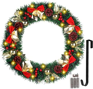Christmas Wreath 20 Inch Christmas Decorations Christmas Hanging Wreath with Battery Operated Outdoor Christmas Lights for Christmas Decorations Outdoor, with Christmas Wreath Hanger