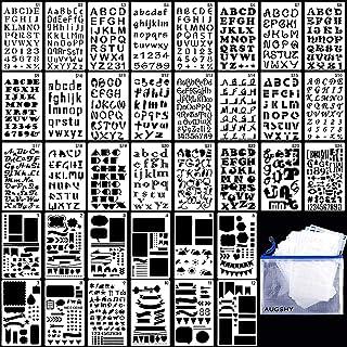 Rosi home 描画テンプレート ステンシル 36枚セット アルファベット テンプレート ジャーナルテンプレート ステンシルシート 数字 絵図 図面テンプレート DIY