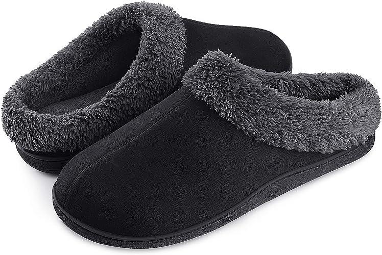 Homitem Men's Cozy Memory Foam Slippers, Slip on Clog House Slippers for Men Indoor Outdoor, Men's House Slippers Anti-Slip Rubber Sole, Warm Soft Fuzzy Plush Lining Mens Slippers