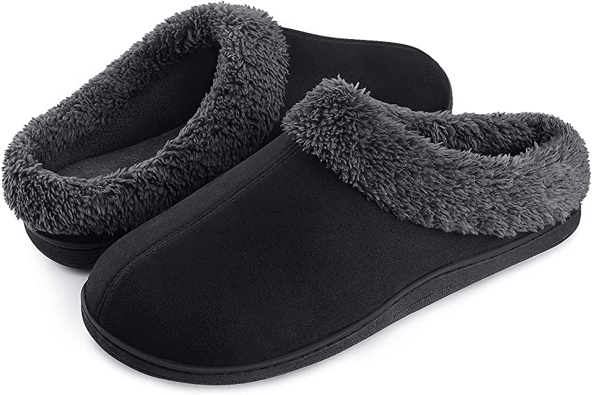 Homitem Mens House Slippers Memory Foam Fuzzy Slip on Shoes Indoor Outdoor Bedroom Home Warm Cozy Soft Plush Lining Anti-Slip Rubber Sole