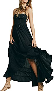 Womens Summer Cotton Sexy Blackless Long Dresses
