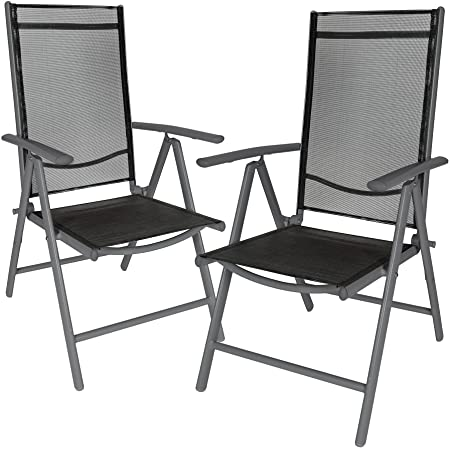TecTake Aluminium folding garden chairs set adjustable with armrests (Anthracite | 2 chairs | no. 401633)