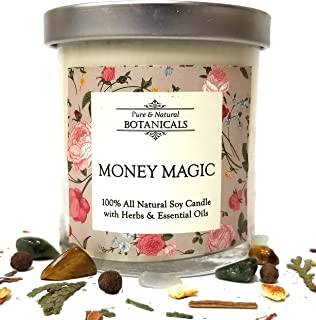 Money Magic Pure & Natural Soy Candle 8.5 oz 100% All Natural & Non Toxic with Crystals, Sandalwood, Vetiver & Orange Blossom Herbs & Essential Oils: Prosperity, Wealth, Abundance: Wiccan Pagan Ritual