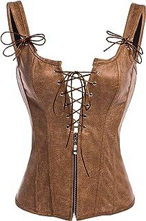 Alivila.Y Fashion Corset Womens PVC Renaissance Lace up Boned Bustier Garter Straps