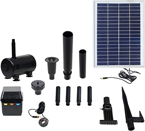 popular Sunnydaze Outdoor Solar Pump and Panel outlet sale Fountain Kit with Battery Pack and LED online sale Light, 132 GPH, 56-Inch Lift online
