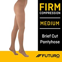 Futuro Pantyhose for Women, Firm Compression, Medium, Nude, Helps Relieve Chronic Leg Conditions and Swelling