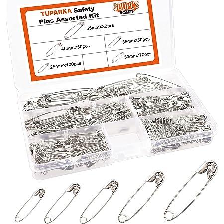 TUPARKA 300 Pcs 25mm-55 mm 5 tamaños Imperdibles de Seguridad Pequeños Grandes para uso en el Hogar Fabricación de joyas de Costura Artesanal en una Caja de PP