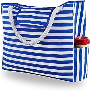 Genovega Borsa da Spiaggia in Tela Grande - Borse in Tessuto da Mare Donna, XXL Shopper Tracolla per Viaggio, Shopping, Be...