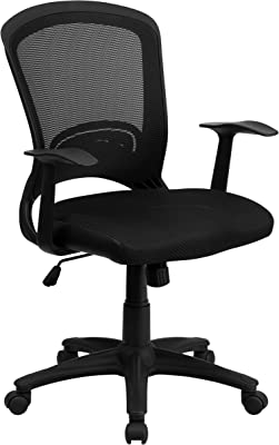 Flash Furniture Mid-Back Designer Black Mesh Swivel Task Office Chair with Arms