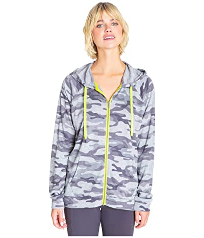 P.J. Salvage Neon Pop Zip Sweatshirt (Grey) Women