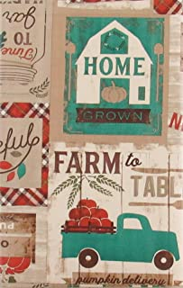 Bountiful Harvest Farm to Table Country Patchwork Vinyl Flannel Back Tablecloth (Teal Accents, 60