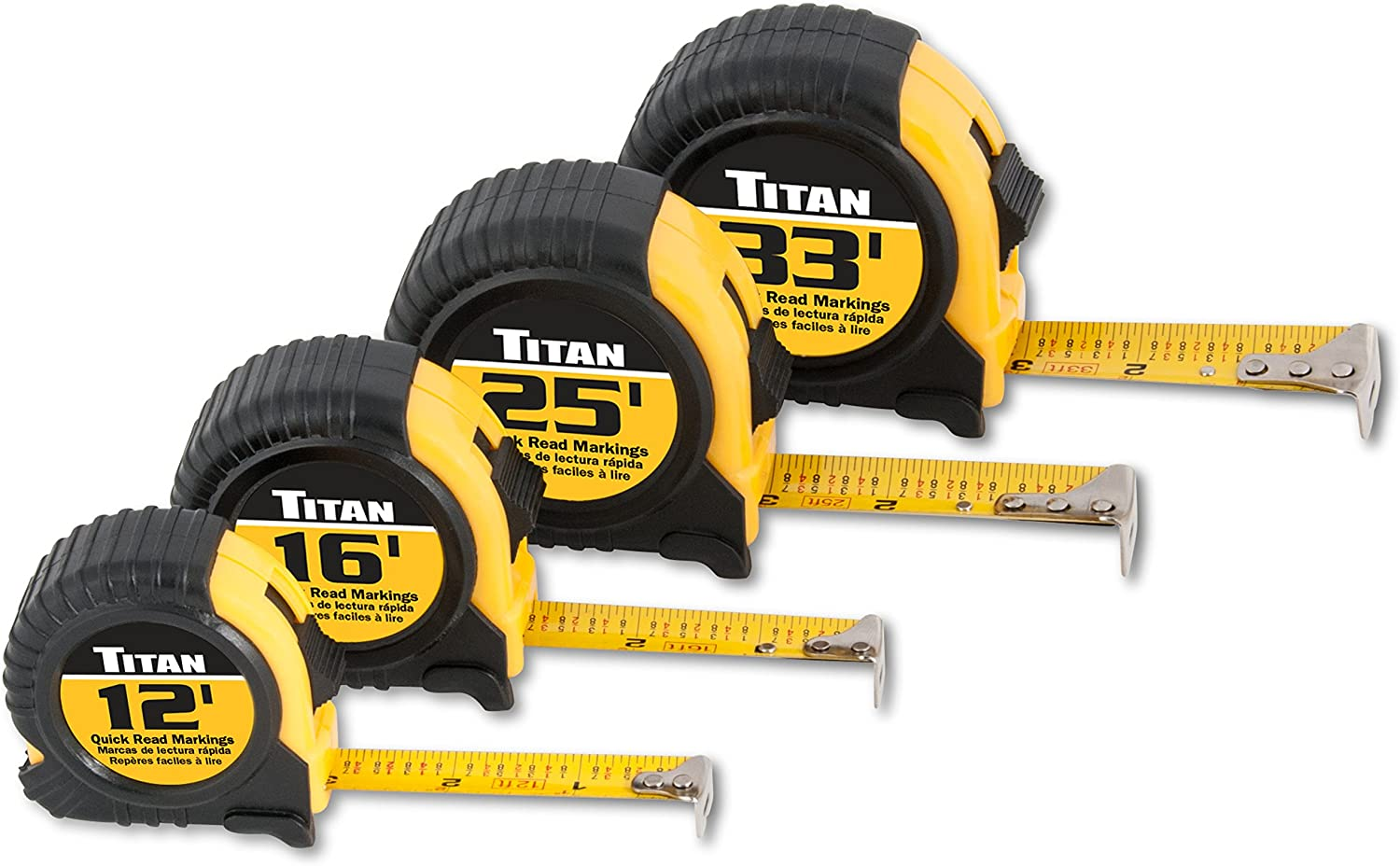 Titan 10902 4-Piece Tape Measure Set (12', 16', 25' and 33') : Everything Else