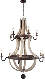 Vintage Rustic 2 Tiers Extra Large Chandelier Pendant Light French Country Wood Metal Wine Barrel Foyer (12 Light Heads) H56 X W42 (Pale Wood)