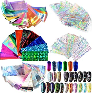 62pcs Mixed Colors Colorful Rainbow Thin Iridescent Gradient Starry Sky Holographic Shattered Broken-Glass Reflective Mirror Shard Effect Cellophane Films Foils Stickers