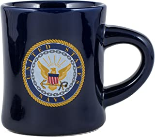 United States Navy Decal Logo Navy Blue Stoneware Diner Mug - Holds 10 Ounces by MCI