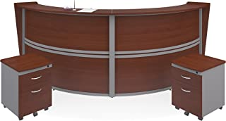 OFM Marque Series Double-Unit Curved Reception Station - Office Furniture Receptionist/Secretary Desk with Two Cherry Pedestals